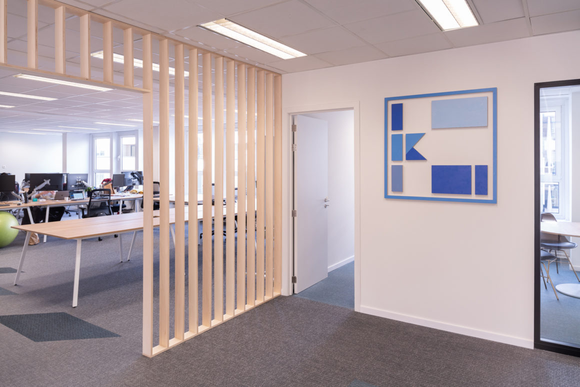 Keyrock office design by Space Refinery - logo and partition