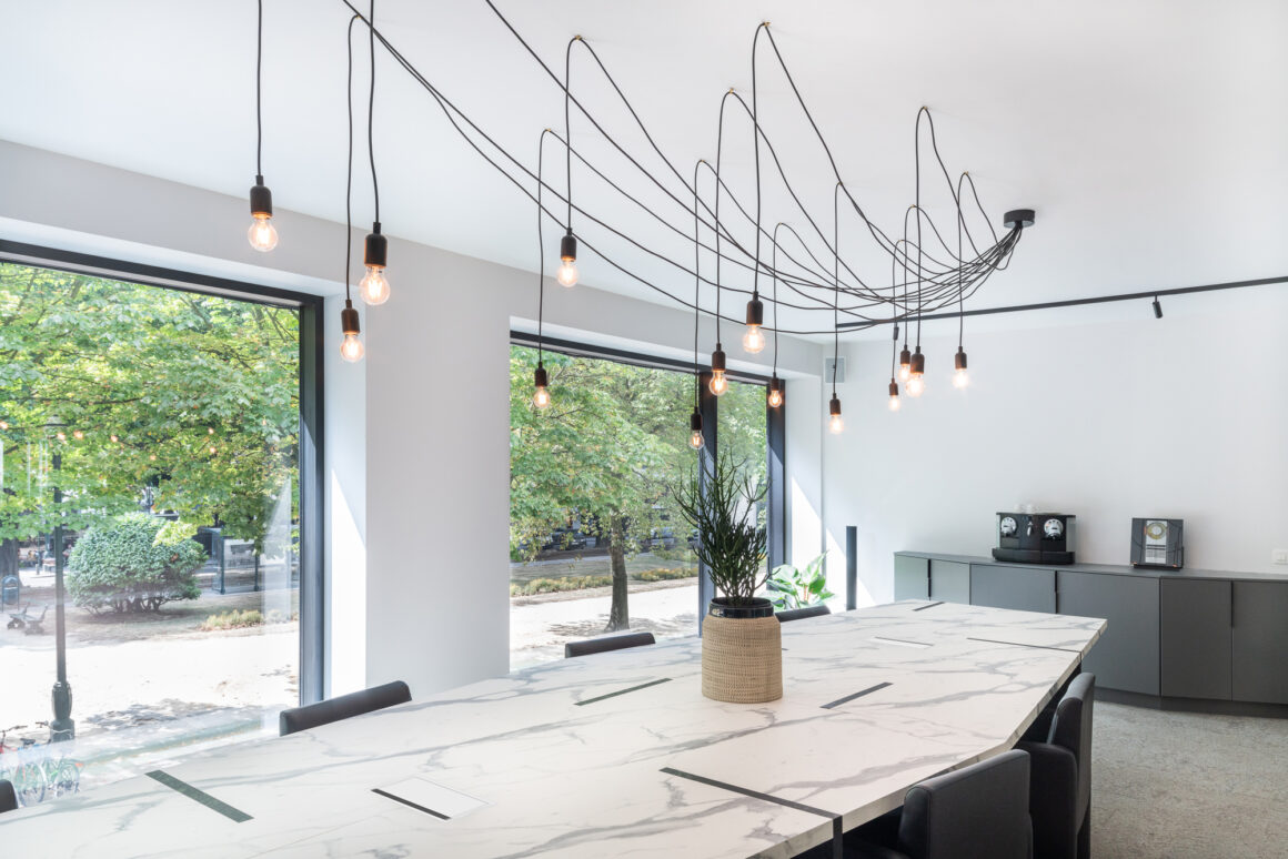 BECI Brussels workspace design and renovation by Space Refinery - boardroom pendant lights