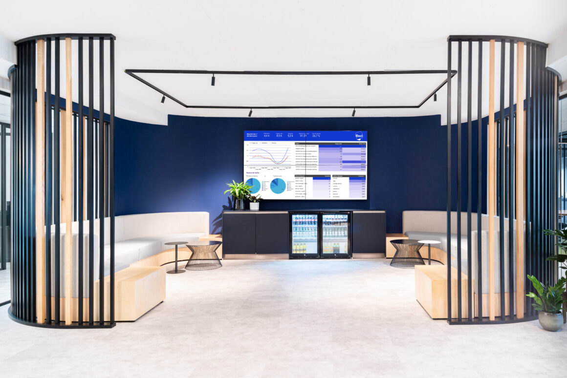 BECI Brussels workspace design and renovation by Space Refinery - welcome lounge coffee bar and video wall